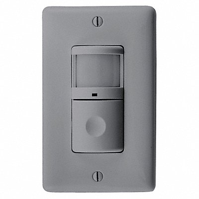 Wall Switch Box Hard Wired Motion Sensor 1200 sq. ft Passive Infrared Gray