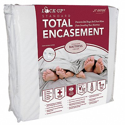 Twin Stretch Knit Lock-Up Mattress Encasement White