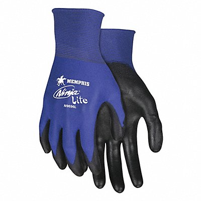 18 Gauge Flat Polyurethane Coated Gloves Glove Size S Black/Blue