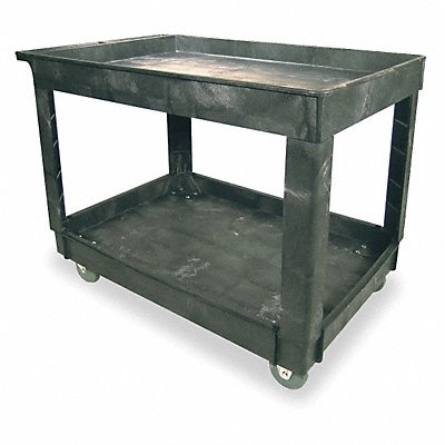 Polypropylene Flat Handle Utility Cart 500 lb Load Capacity Number of Shelves 2