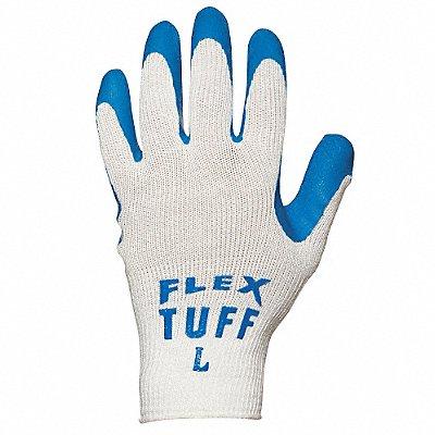 10 Gauge Crinkled Natural Rubber Latex Coated Gloves Glove Size L Blue/White