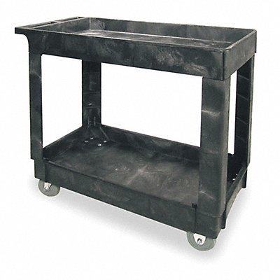 Polypropylene Flat Handle Deep Shelf Utility Cart 500 lb Load Capacity Number of Shelves 2