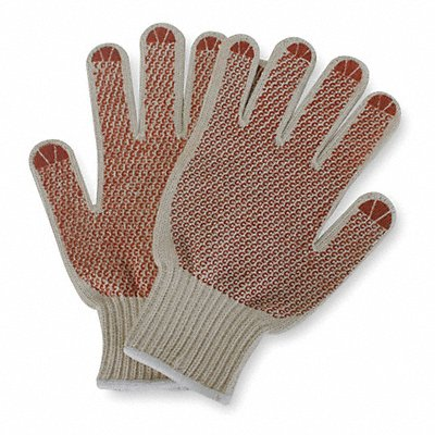 Knit Gloves Polyester/Cotton Material Knit Wrist Cuff Natural/Rust Glove Size XL