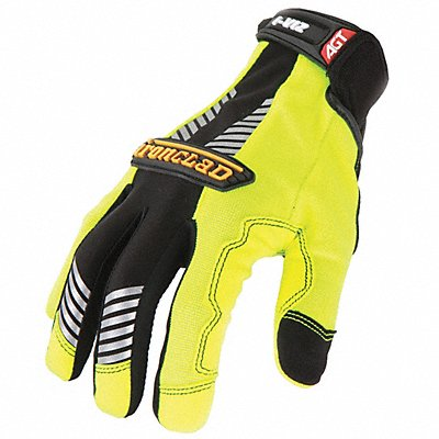 General Utility High Visibility Mechanics Gloves Synthetic Leather Palm Material Lime Green L PR
