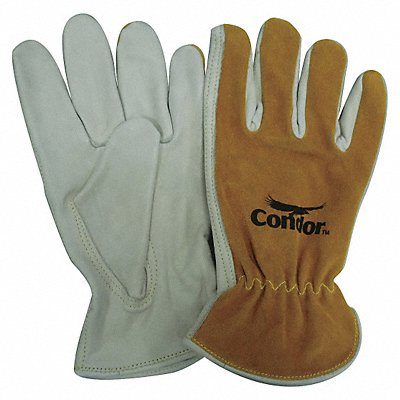 Cowhide Drivers Gloves Shirred Wrist Cuff Pearl/Bourbon Brown Size XL Left and Right Hand