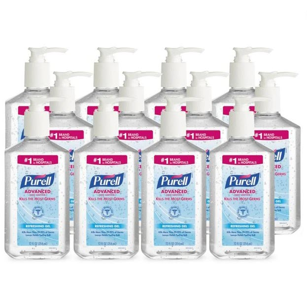 Purell Instant Hand Sanitizer, Pump Bottle, 12 oz., 12-CT, Clear