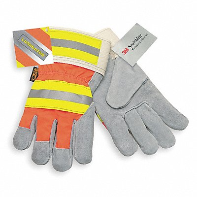 Cowhide Leather Work Gloves Safety Cuff Gray Palm HiVis Orange and Yellow Back Size L Left and