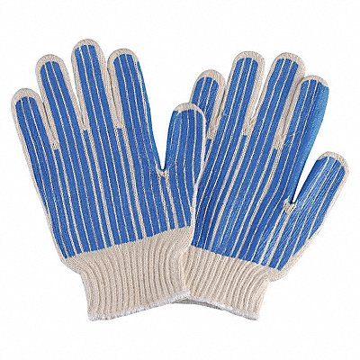 Knit Gloves Polyester/Cotton Material Knit Wrist Cuff Natural/Blue Glove Size S