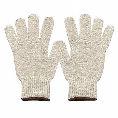 Knit Gloves Polyester/Cotton Material Knit Wrist Cuff Natural Glove Size L
