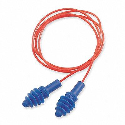 27dB Reusable Flanged-Shape Earplugs Corded Blue M