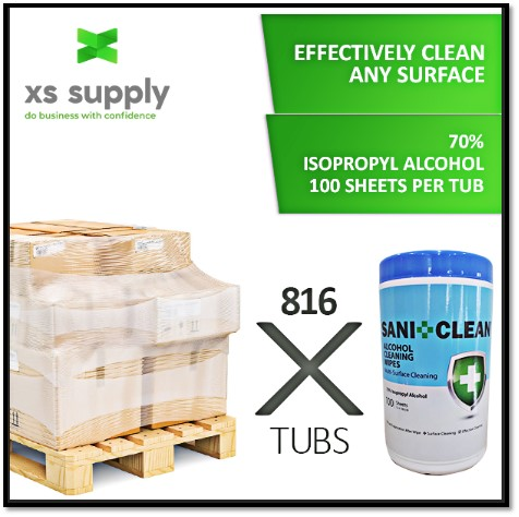 ALCOHOL CLEANING WIPES (100 WIPES PER TUB) | Pallet of 816 | Free Shipping
