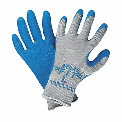 10 Gauge Crinkled Natural Rubber Latex Coated Gloves Glove Size M Blue/Gray
