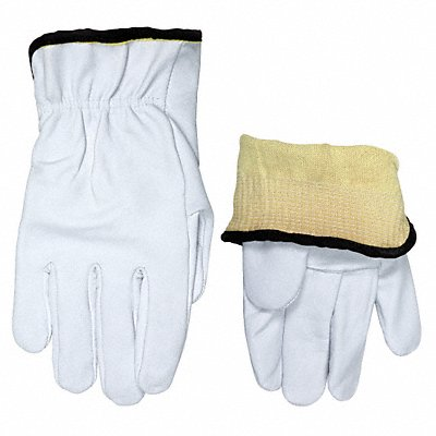 Goatskin Leather Work Gloves Slip-On Cuff White Size XL Left and Right Hand