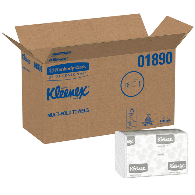 Kleenex Multifold Paper Towels (01890), White, 16 Packs / Case, 150 Tri Fold Paper Towels / Pack, 2