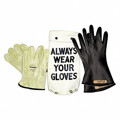 Black Electrical Glove Kit Natural Rubber 0 Class Size 9