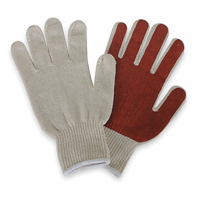 Knit Gloves Polyester/Cotton Material Knit Wrist Cuff Natural/Rust Glove Size L