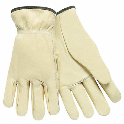 Cowhide Leather Work Gloves Slip-On Cuff Cream Size XL Left and Right Hand