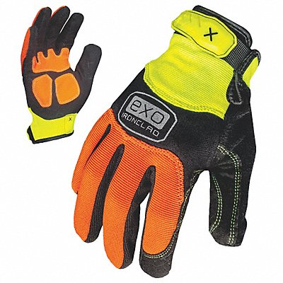 High Visibility Gloves Embossed Synthetic Leather Duraclad Palm Material High Visibility Orange/H