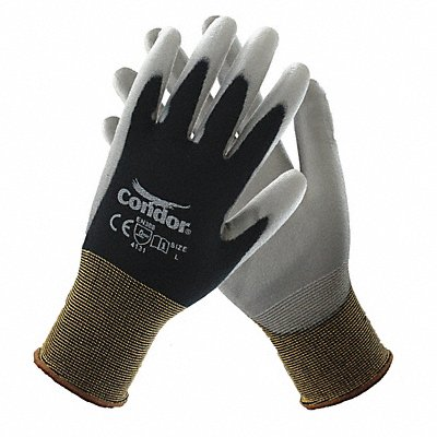 13 Gauge Smooth Polyurethane Coated Gloves Glove Size XL Black/Gray