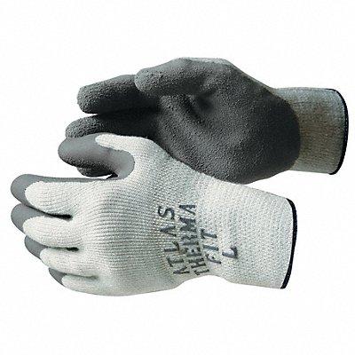 10 Gauge Crinkled Natural Rubber Latex Coated Gloves Glove Size L Gray