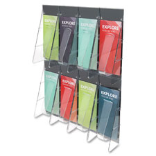 "Deflecto Leaflet Wall Rack,8-Pocket,18-1/4""x2-7/8""x23-1/2"",Clear, Each"