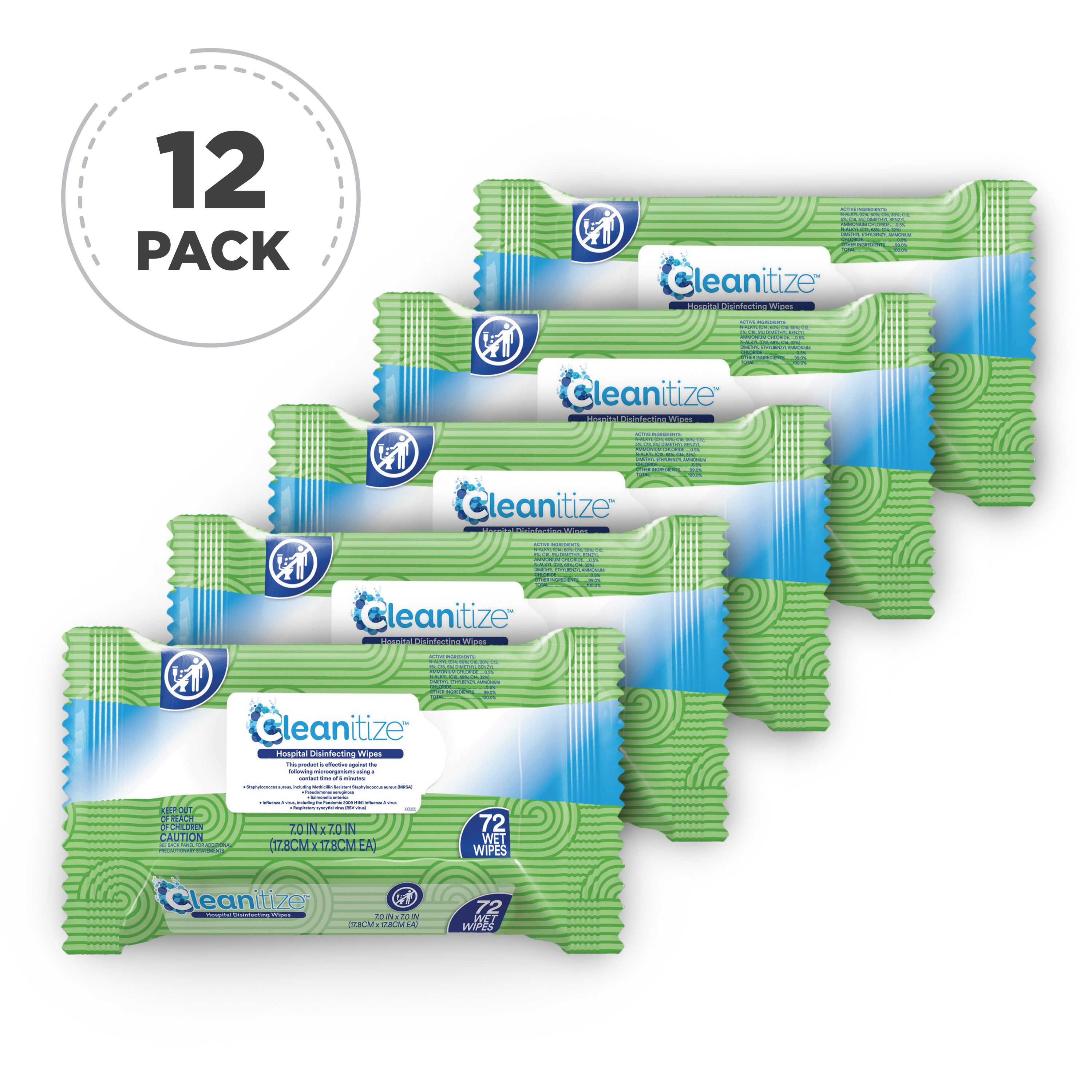 Cleanitize Disinfectant Wipes | EPA registered, on N List, Proven to Kill COVID-19, Case of 12/72 W