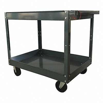Steel Flat Handle Deep Shelf Utility Cart 500 lb Load Capacity Number of Shelves 2