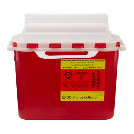 Sharps Container BD 5.4 Quart Red Base / White Lid Horizontal Entry Counterbalanced Door Lid
