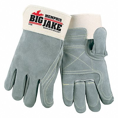 Cowhide Leather Work Gloves Safety Cuff Gray Size XL Left and Right Hand