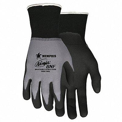 15 Gauge Foam Nitrile Coated Gloves Glove Size L Gray/Black