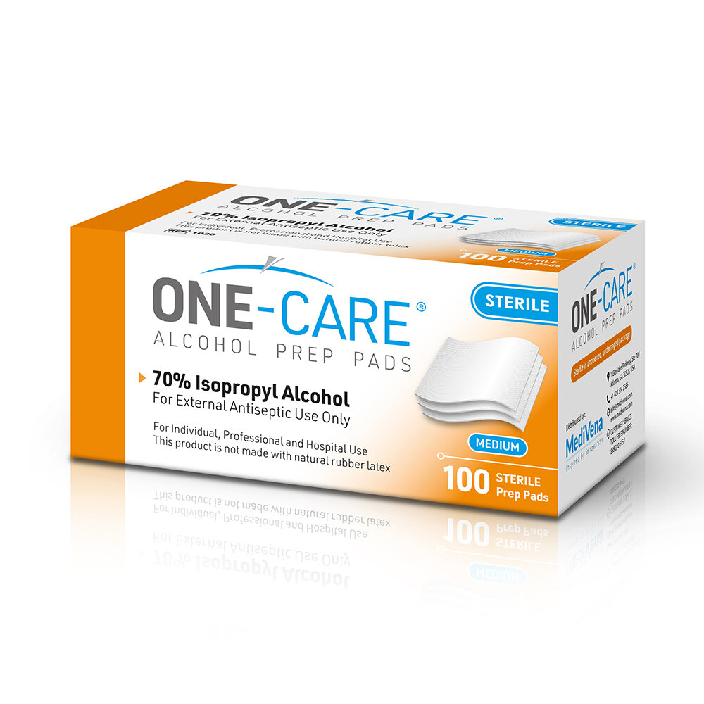 ONE-CARE Alcohol Prep Pads, 70% Isopropyl Alcohol, M-size individually wrapped antiseptic wipes, 1
