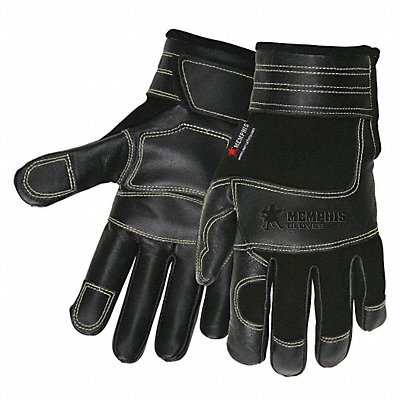 Leather Gloves Synthetic Leather Palm Material Black M PR 1