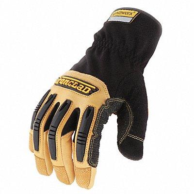 Leather Mechanics Gloves Goatskin Leather Palm Material Black/Tan L PR 1