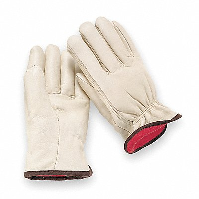 Cowhide Drivers Gloves Shirred Wrist Cuff Light Greenish Beige Size XL Left and Right Hand
