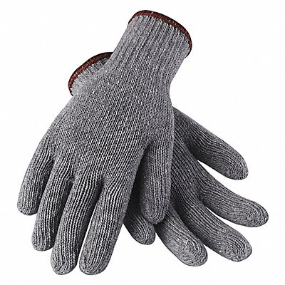 Knit Gloves Polyester/Cotton Material Knit Wrist Cuff Gray Glove Size L