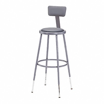Round Stool with 25 to 33 Seat Height Range and 300 lb Weight Capacity Gray