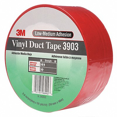 Light-Duty Duct Tape 2 X 50 yd. 6.30 mil Thick Red Vinyl 1 EA