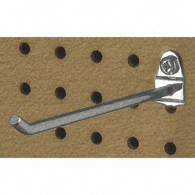 Steel Single Rod Pegboard Hook Screw In Mounting Type Silver Finish Bright Zinc
