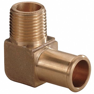 Brass Beaded Hose Barb with 90¬ Elbow Fitting Style 3/8 Thread Size