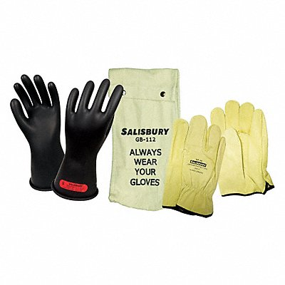 Black Electrical Glove Kit Natural Rubber 0 Class Size 9-1/2