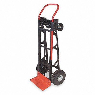 Convertible Hand Truck 600 lb./600 lb Horixontal/Vertical Load Cap. Continuous Frame Flow-Back