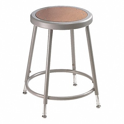 Round Stool with 19 to 27 Seat Height Range and 300 lb Weight Capacity Gray