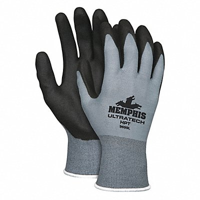 15 Gauge Foam PVC Coated Gloves Glove Size L Black Gray