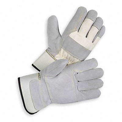 Cowhide Leather Work Gloves Safety Cuff Gray Size M Left and Right Hand