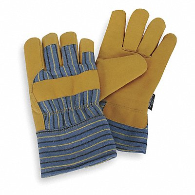 Cold Protection Gloves Thinsulate Lining Safety Cuff Gold Yellow/Blue Stripes M PR 1