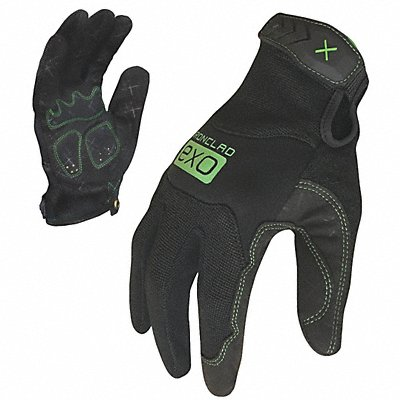 General Utility Mechanics Gloves Synthetic Leather/Foam Padding Palm Material Black/Green L PR 1