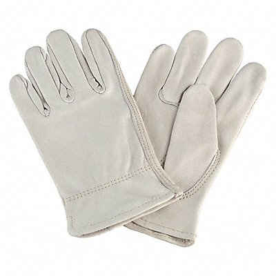 Cowhide Drivers Gloves Shirred Wrist Cuff Off White Size L Left and Right Hand