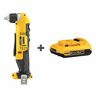 3/8 Cordless Right Angle Drill Kit 20.0 Voltage Battery Included