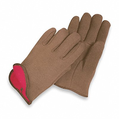 Jersey Gloves Cotton/Polyester Material Slip-On Cuff Brown Glove Size L