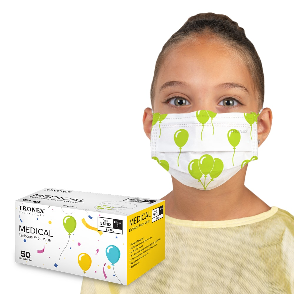 Tronex Kid Size ASTM Level 1 Face Mask With Ear Loops & Balloon Print, Soft Face Masks for Children
